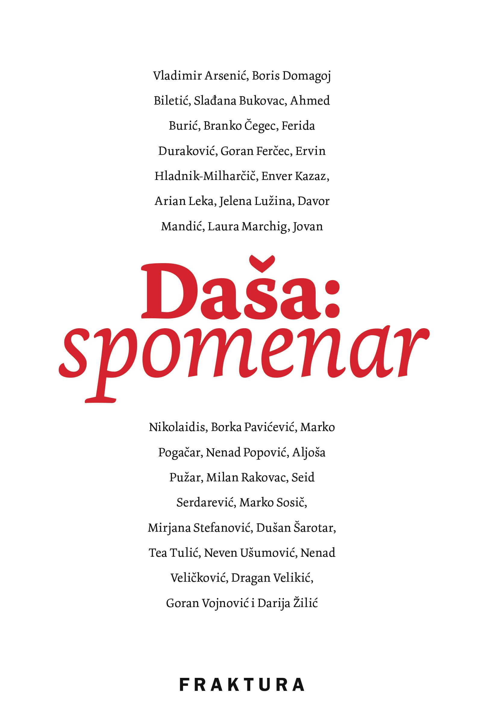 Daša: spomenar